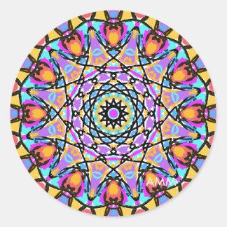 Fun Flower Kaleidoscope Classic Round Sticker