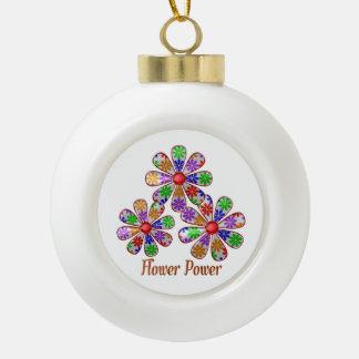 Fun Flower Power Ceramic Ball Christmas Ornament