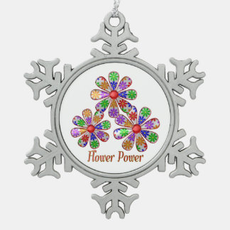 Fun Flower Power Snowflake Pewter Christmas Ornament