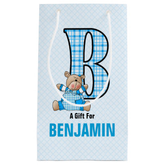 Fun for Boys the Letter B for Teddy Bear in Blue Small Gift Bag