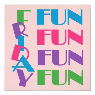 "Fun Friday Sleepover or Slumber Teen Birthday 5.25"" Square Invitation Card"