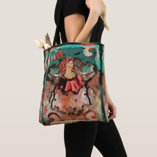 Fun, Funky Art Bright Color Sea Angel and Stars Tote Bag