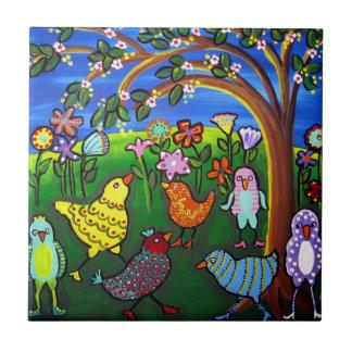 Fun Funky Colorful Birds Whimsical Folk Art Tile
