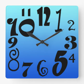 Fun funky numbers - electric blue gradient square wall clock