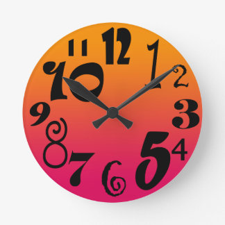 Fun funky numbers - hot red to orange gradient round clock