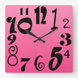 Fun funky numbers - shocking pink gradient square wall clock