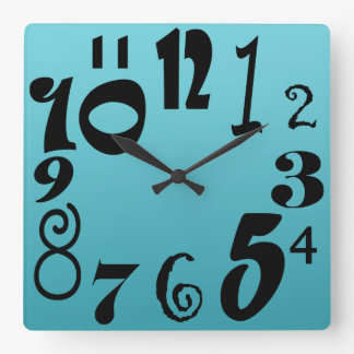 Fun funky numbers - turquoise blue gradient square wall clock