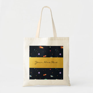 Fun Funky Retro Outer Space Rocket & Planets Tote Bag