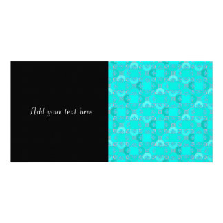 Fun Geometric Pattern in Shades of Turquoise Photo Card Template