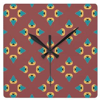 Fun geometric tree design square wall clock