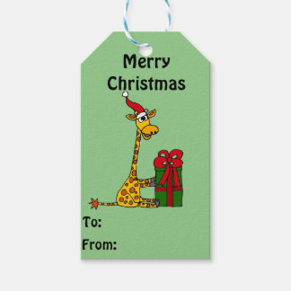 Fun Giraffe Opening Christmas Package Gift Tag