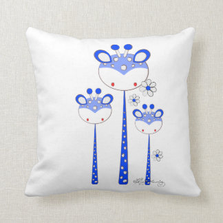 Fun Giraffes -- Bright Blue Throw Pillow