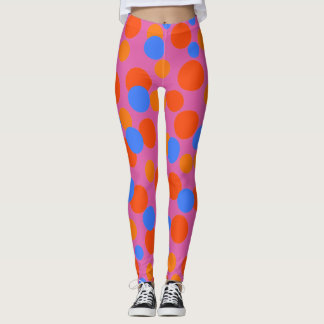 FUN GIRL LEGGING. CHEERFUL PINK BLUE BUBBLEGUM LEGGINGS