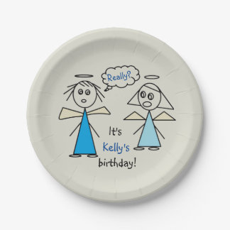 Fun Girl Stick Figure Angels Personalized Birthday Paper Plate