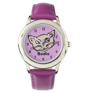 Fun girls cat / kitten graphic named wrist watch