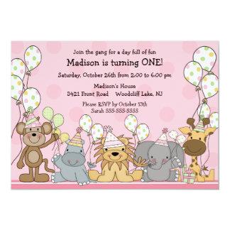 "Fun Girls Safari Animals Birthday 5"" X 7"" Invitation Card"