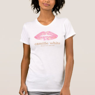 Fun Girly Makeup Artist Pink and Gold Lips T-Shirt