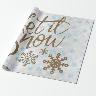 Fun Gold Sparkles Let it Snow Wrapping Paper