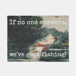 "Fun ""Gone Fishing"" Hooked Fish Doormat"