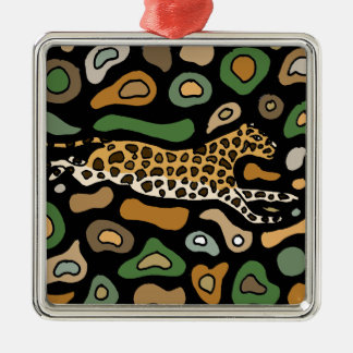 Fun Graceful Leaping Leopard Abstract Silver-Colored Square Ornament