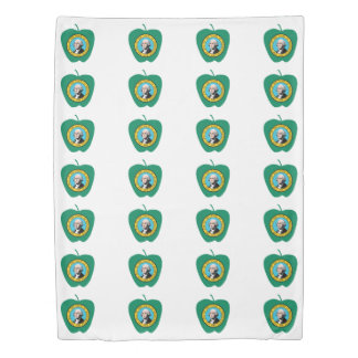 Fun Green Apple Washington State Flag Duvet Cover