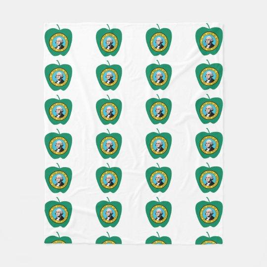 Fun Green Apple Washington State Flag Fleece Blanket