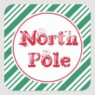 Fun Green Christmas North Pole Gift Tag Stickers