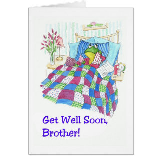 Fun Green Frog Get Well Soon for a Son Card