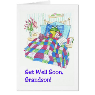 Fun Green Frog Get Well Soon for Grandson Card