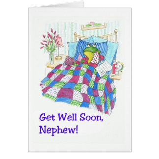 Fun Green Frog Get Well Soon for Nephew Card