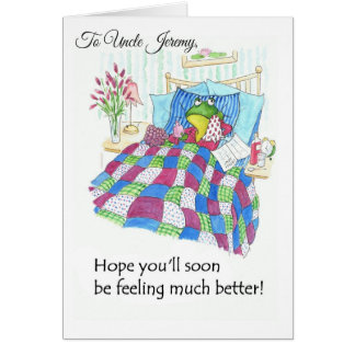 Fun Green Frog Get Well Soon to Personalize Card