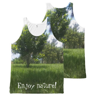 Fun Green Nature Park Picture All-Over-Print Tank Top