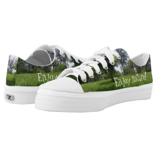 Fun Green Nature Print Design Low Top Shoes