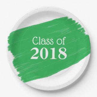 Fun Green Oil Painting Graduation Design Paper Plate