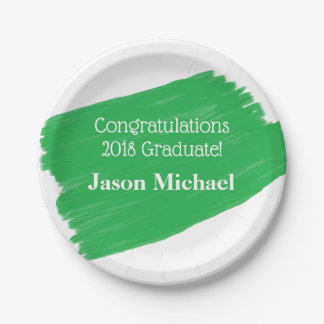Fun Green Oil Painting Personalized Graduation Paper Plate