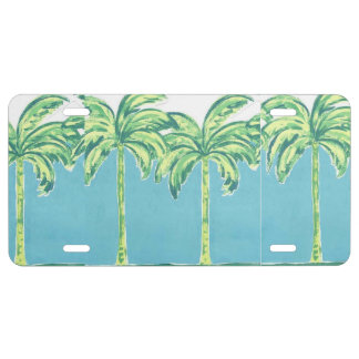 Fun Green Palm Trees Blue Sky License Plate