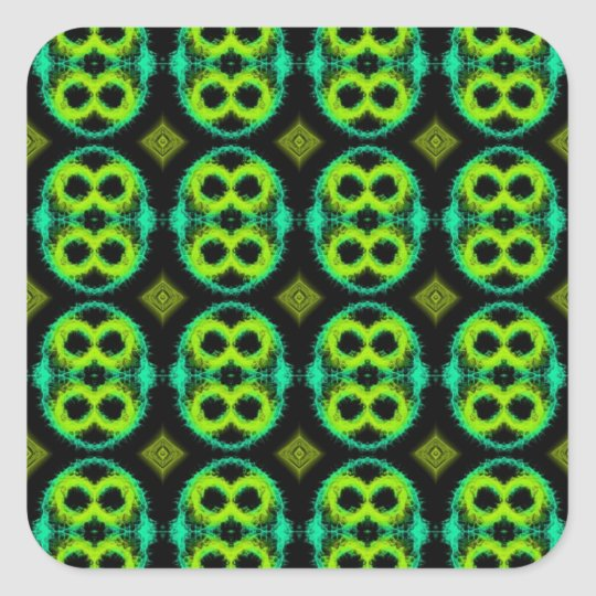 Fun Green Plaid Square Sticker