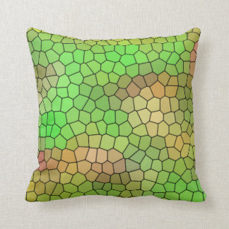 Fun Green Stained Glass Design Throw Pillow