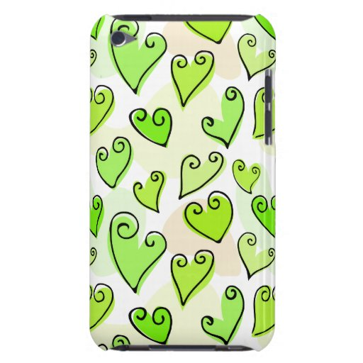 Fun Green Valentine's hearts iPod Touch Case-Mate