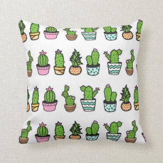 Fun Green & White Cactus Print Throw Pillow