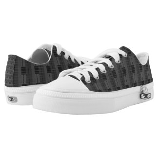 Fun Grey & Black Plaid Low-Top Sneakers