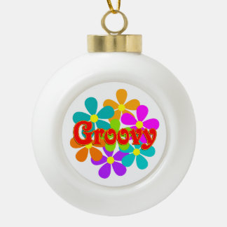 Fun Groovy Flowers Ceramic Ball Christmas Ornament