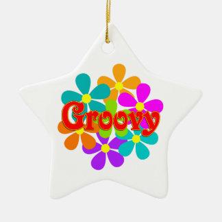 Fun Groovy Flowers Ceramic Ornament