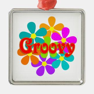 Fun Groovy Flowers Metal Ornament