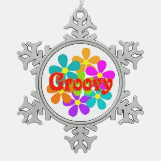 Fun Groovy Flowers Snowflake Pewter Christmas Ornament
