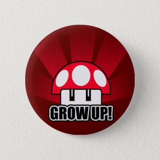 Fun Grow Up Red Mushroom Powerup 2 Inch Round Button