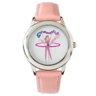 Fun Gymnastics text with Pink hula hooping girl Wristwatch