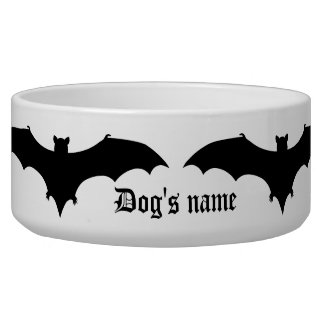 Fun Halloween black bats Dog Bowl