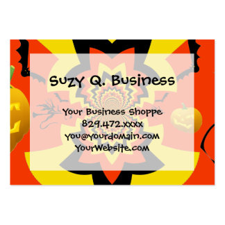 Fun Halloween Kaleidoscope Pattern Black Orange Large Business Card