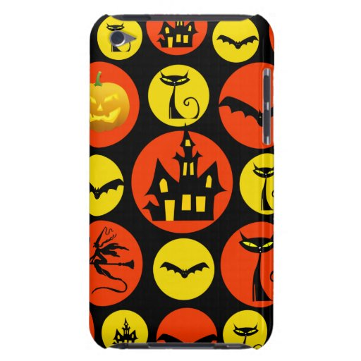 Fun Halloween Polka Dot Pattern Haunted House Barely There iPod Case